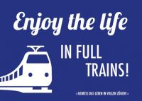 Denglish-Postcard 'Enjoy the life in full trains'
