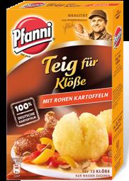 Pfanni Teig für Klösse mit rohen Kartoffeln