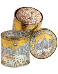 Silberdose gefüllt mit feinen Oblaten-Lebkuchen