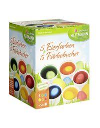 Heitmann 5 Eierfarben + 5 Färbebecher